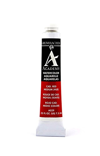 Grumbacher Academy Watercolor Paint, 7.5ml/0.25 Ounce, Cadmium Red Medium Hue (A029)