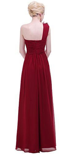 BISLU Flowers One Shoulder Long Prom Party Bridesmaids Dress Burgundy 6