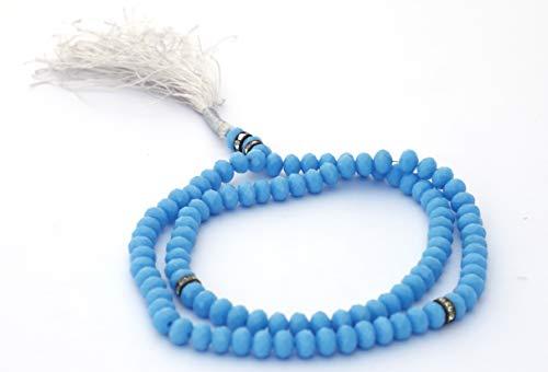 Price comparison product image Tasbeeh Tasbih beads 99 Belgium Stone Hand Made String (Sky Blue)
