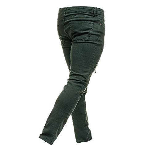 Gusspower Pantalón Verde Pitillo Pantalones Personalidad Hombres Pantalones Vaqueros Slim Casuales Agujero Fit Rotos Skinny Elasticos rTxprqw