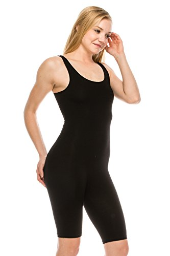 6f6f7a1f7532 The Classic Womens Catsuit Cotton Stretch Knee Length Active One Piece  Footed Jumpsuit