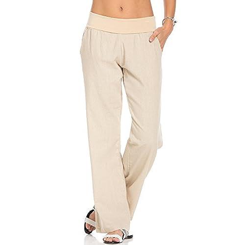 Poplooks Womens Comfy Fold Over Linen Pants Natural Medium
