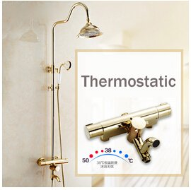 Dual Control Exposed Valve (Kitchen faucet Bathroom faucetNewly Golden Thermostatic Shower Faucet Set Dual Handle Temperature Control Shower Mixers with Hand Shower + Tub Spout,Yellow)