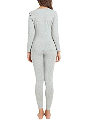 Cherrydew Women's Ultra Soft Thermal Underwear Set Cotton Long Johns Base Layer Fleece Lined Cuddle Duds