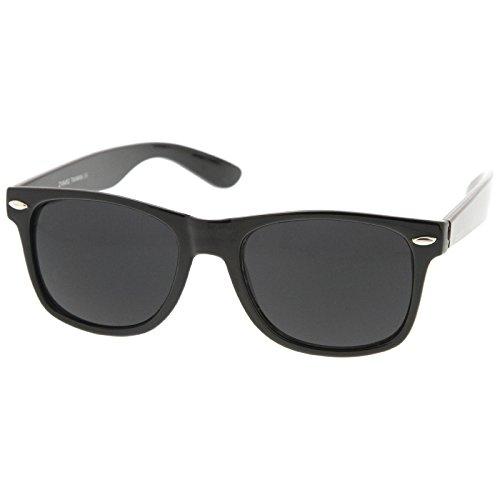 zeroUV - Retro Wide Arm Neutral Colored Lens Horn Rimmed Sunglasses 55mm (Shiny Black/Smoke)
