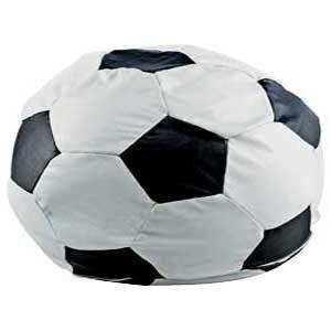 Faux Leather Black White Football Bean Bag Chair