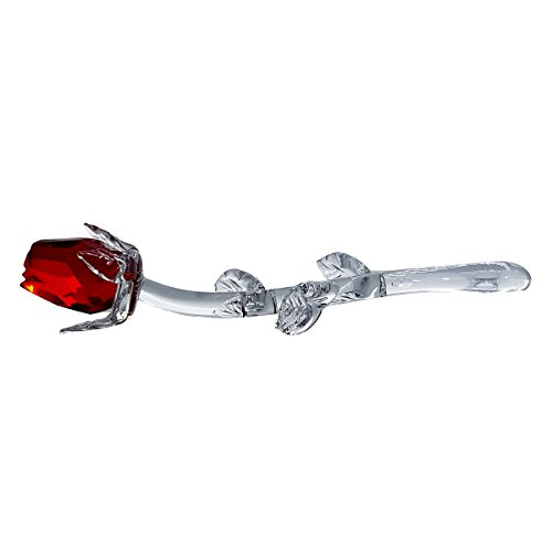 Blown Glass Rose - Crystal Florida Crystal Red Rose