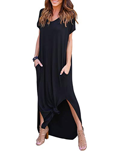 AKEWEI Women Maxi Dresses Summer V Neck Short Sleeve Long Dress with Pocket Beach Skirt Cover Up Splits (Black,S)