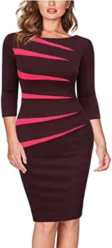 b5cef2405e FORTRIC Women Slim Stitching Bodycon Business Wear to Work Party Pencil  Dress