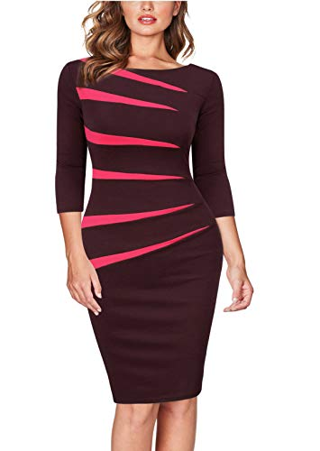 FORTRIC Women 2/3 Sleeve Stitching Bodycon Business Pencil Dress Chocolate S
