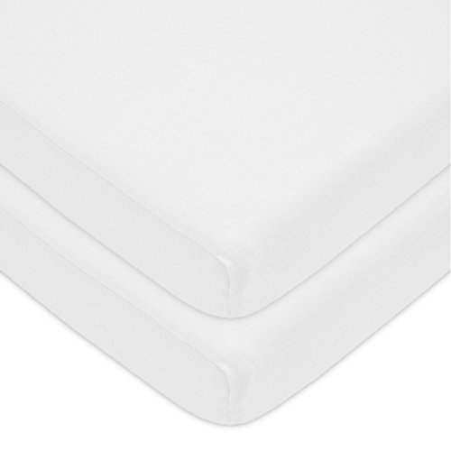 American Baby Company 2 Pack 100% Natural Cotton Value Jersey Knit Fitted Portable/Mini-Crib Sheet, White, Soft Breathable, for Boys and Girls