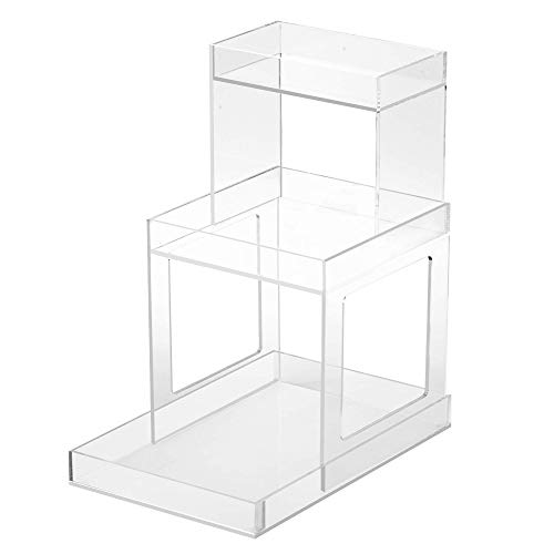 CLEAR ISLAND BEAUTY TERRACE Cosmetic Organizer- Easy Access Makeup Storage - Large Capacity Acrylic Makeup Organizer, Countertop and Vanity Organizer