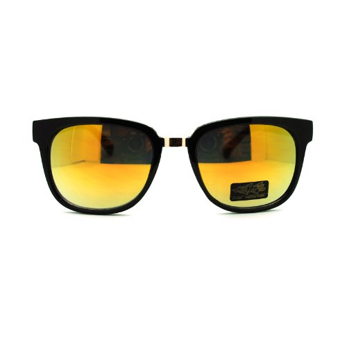 Retro Rewind Metal Bridge Horn Rim horned Celebrity Rectangular Sunglasses Black Gold