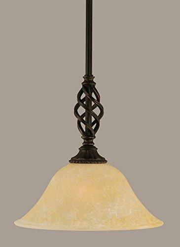 "Price comparison product image Toltec Lighting 80-DG-513 Elegante Mini Pendant with Hang Straight Swivel with 10"" Amber Marble Glass,  Dark Granite Finish"