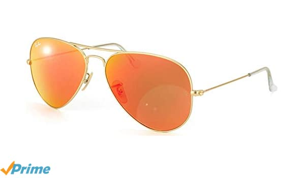 Ray-Ban Aviator Large Metal, Gafas de sol para Hombre, Dorado (Orange Flash), 62