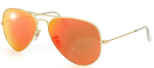 Ray-Ban RB3025 Aviator Flash Mirrored Sunglasses, Matte Gold/Orange Flash, 55 mm (Ray-ban 0rb3025)