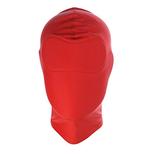 HOT TIME Unisex Lycra Spandex Zentai Hood Mask (S-Small, Red-Full Cover)