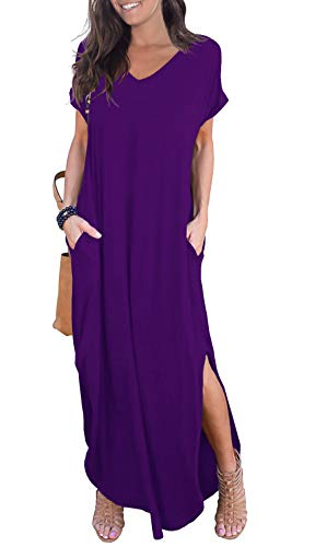GRECERELLE Womens Casual V Neck Side Split Beach Long Maxi Dress Purple L
