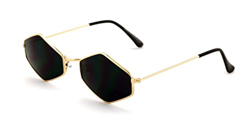 V.W.E. Metal Frame Slim Temple Color Lens Hexagon Sunglasses Rock and Roll - The With Rock Sunglasses