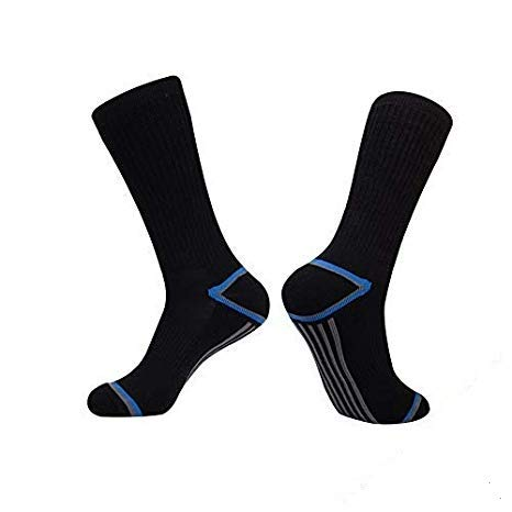 Mens Athletic 6 Pack Striped Full Cushioned Crew Winter Warm Arch Compression Running Socks by DEFGEM