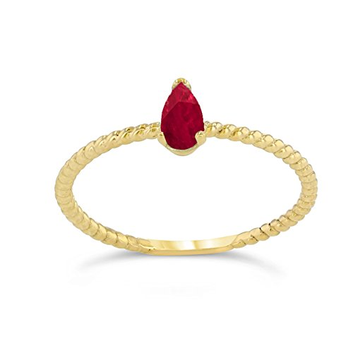 Dainty 10k Yellow Gold Solitaire Ruby Pear-Shaped Modern Engagement Rope Ring (Size 11) ()