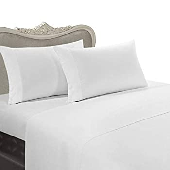 Image of Egyptian Bedding Luxurious 8PC Queen 300 Thread Count Bed in a Bag - White Solid Sheet, Duvet & Down Comforter Home and Kitchen
