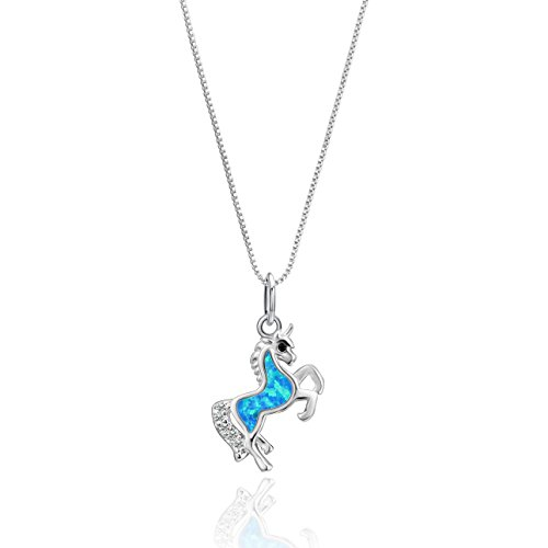 Luckeyui Horse Necklace Created Blue Opal Pendant Tiny October Birthstone Jewelry for Women