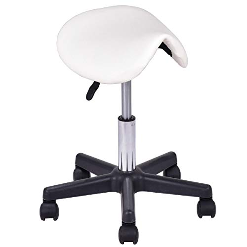 Seleq Adjustable White PU Leather Salon Stool Saddle Style with 5 -