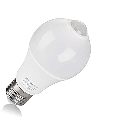 Motion Sensor Light Bulb, Zanflare 12W E27 Smart PIR Sensor LED Bulbs, Cold White