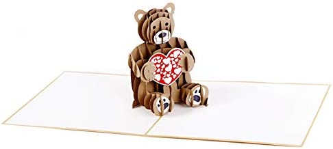 Happy Valentine/'s Day Pop-Up Cute Bear Greeting Card 3D Pop Up Cards