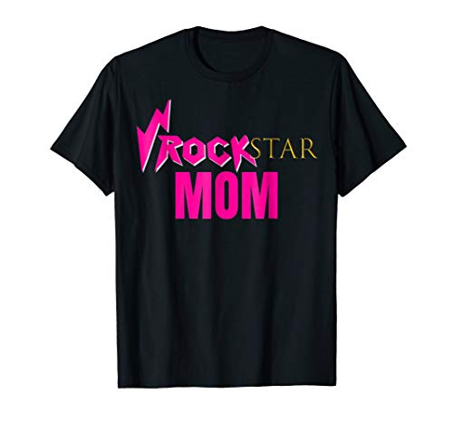 Rockstar MOM Birthday Party Theme Shirt Outfit Gift Tee ()