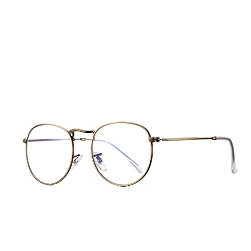 AZORB Round Clear Lens Glasses Circle Non-prescription Eyeglasses Metal Frame (Copper, - Trendy Round Glasses Faces For