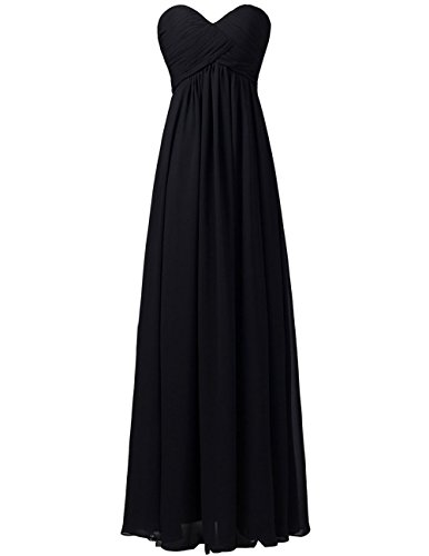 Chiffon Long Bridesmaid Dresses Sweetheart Prom Evening Gowns Party Formal Plus Size Dress Black US 22W (Informal Prom Dress Evening Gown)