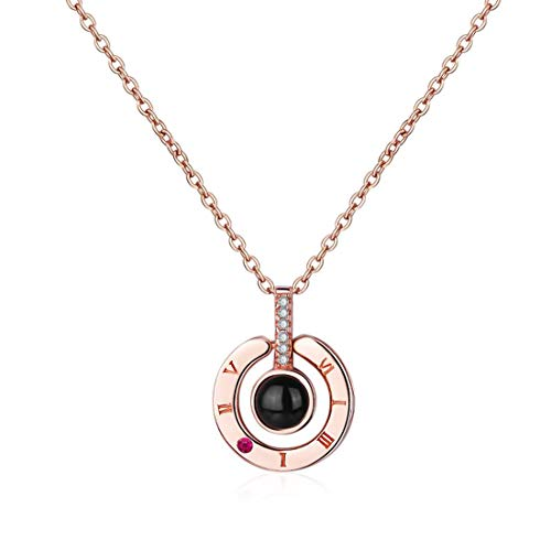 Exweup I Love You Necklace,Rose Gold Plated 100 Languages Projection on Round Onyx Pendant Loving Memory Collarbone Necklace 1 Pcs