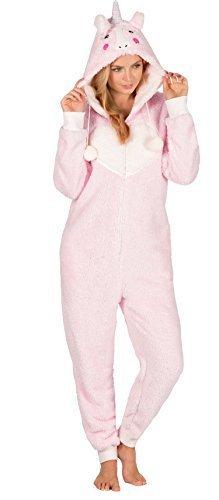 Mujeres Damas Estampado 1 Pieza Con Capucha Mono Todo En Uno Pieza Pijamas - ROSA unicornio