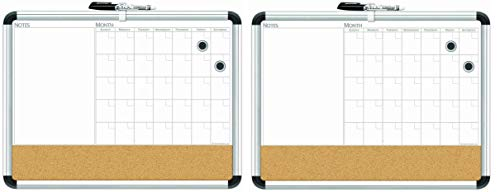 Board Dudes 17″ x 23″ Aluminum Framed Magnetic 3-in-1 Dry Erase Cork Calendar Board (CXP65)