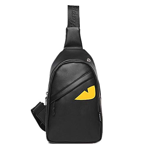 Men Leather Sling Bags Chest Backpack Crossbody Shoulder Bags Casual Travel Hiking (One-eyed) ()