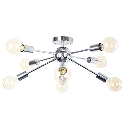 PUZHI HOME Modern Sputnik Chandeliers 8-Lights Fixture Silver Chrome Pendant Lights Modern Chandelier Lighting Kitchen…