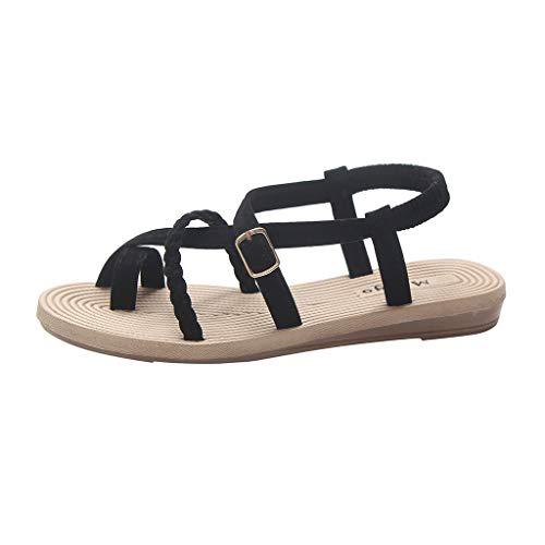 Duseedik Summer Women's Flat Sandals Bottom Roman Toe Cross Criss Wild Cross Straps Clip Toe Beach Shoes Black ()