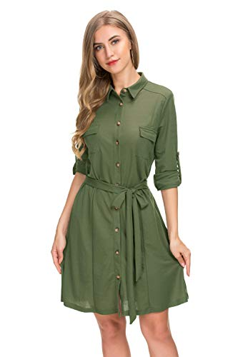 Le Vonfort Plus Size Boyfriend Shirt Dress for Women, Fashionable Roll up Sleeve Cute Collar Knee Length Basic Blouse Tunic Army XX-Large