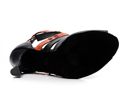 Minishion Qj6178 Da Donna Fibbia Cinturino Alla Caviglia In Pelle Da Ballo Scarpe Da Ballo Latino Arancione