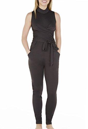 Kat & Emma Sleeveless High Neck Crisscross Wrap Jumper With Belt & Pocket (Black, (High End Cross)