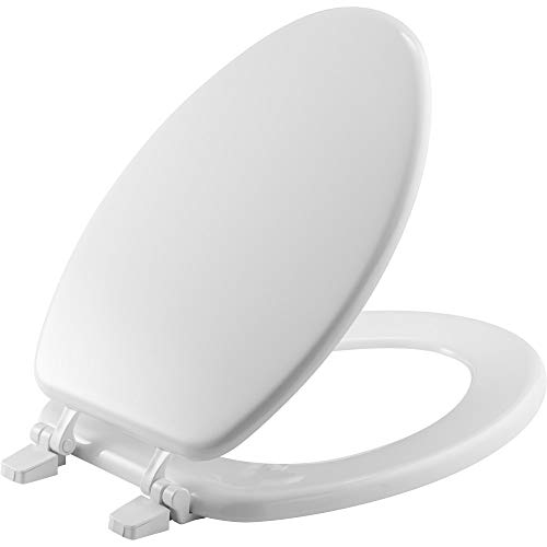 BEMIS 1400TTA 000 ELONGATED Economy Toilet Seat, ELONGATED, Durable Enameled Wood, White