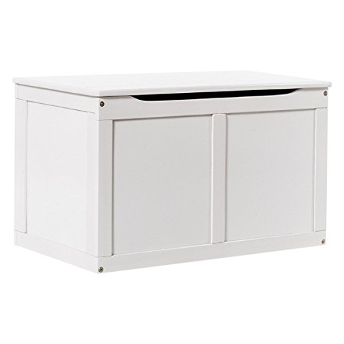 Costzon Wooden Toy Box, Toy Storage Chest Organizer for Kids with Lid, White - White Poplar Cabinet