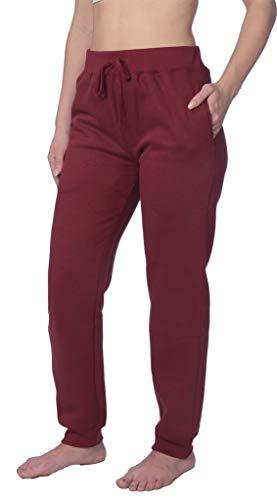 Bottom Womens Sweatpants - Woman Sweatpants Fleece Pants Close Bottom with Drawstring CB_LFPO1_18 Maroon 1X