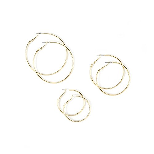 Icing Womens Small, Medium and Large Hoop Earrings Set of 3