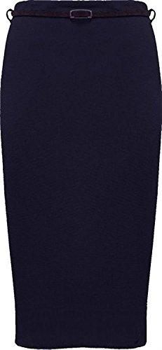 Nouveau 54 Usure Bureau Ceintur Bodycon Navy Jupes Surdimensionn 44 Dcontracte Midi Plaine Femmes r0WrPUFq1
