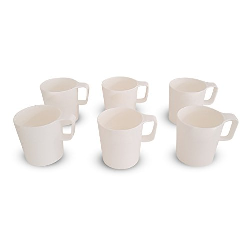 Coza Design- Eco Friendly Plastic Stackable Mug Set for coffee, tea, milk or hot chocolate- 8.5 oz (Set of 6, White)