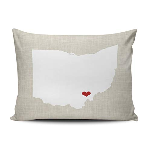 Fanaing Bedroom Custom Decor Ohio State Personalized Pillowcase Soft Zippered Gray Red and White Throw Pillow Cover Cushion Case Fashion Design One Sided Printed Queen 20X30 - State Printed Case Pillow Ohio
