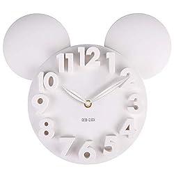MEIDI CLOCK Modern Design Mickey Mouse Big Digit 3D Wall Clock Home Decor Decoration - White
